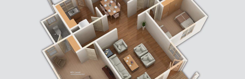 Three Bedroom House Design 0907B