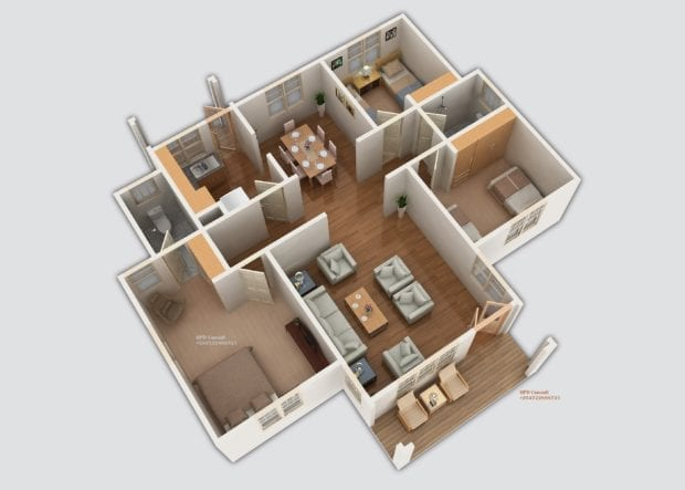 Three Bedroom House Plan With Master Bedroom En Suite Hpd Consult
